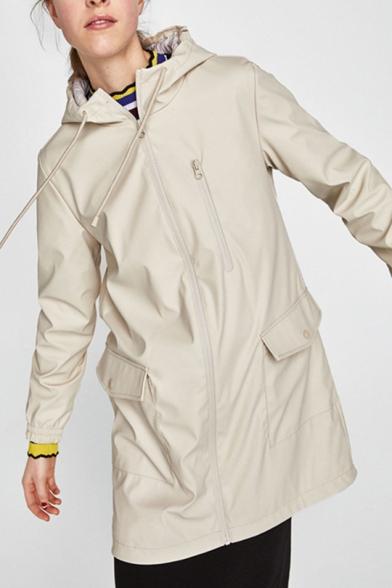 Flap Plain Zip Pocket Longline Up Fashion Coat Hooded
