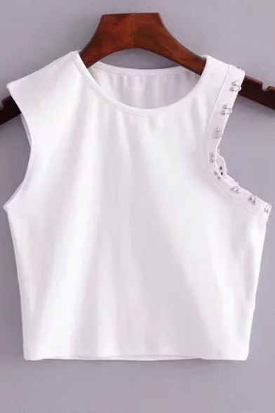 Detail Cropped Fit Women's Pop Neck Plain Round Tank Fashion Slim Button wn7t7q0z