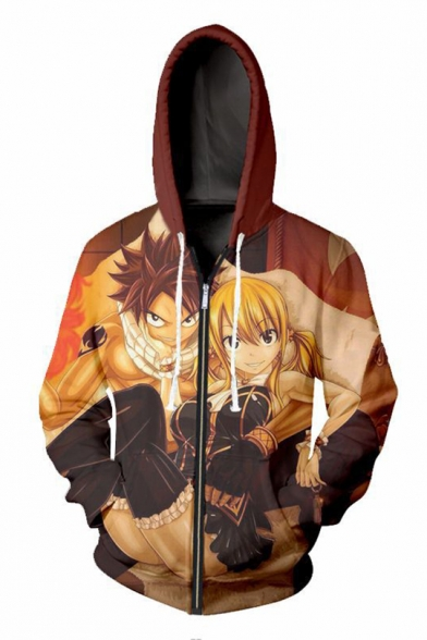 Long Hoodie Sleeve Printed Cartoon Pockets Zip with Character 3D Up qHX0R