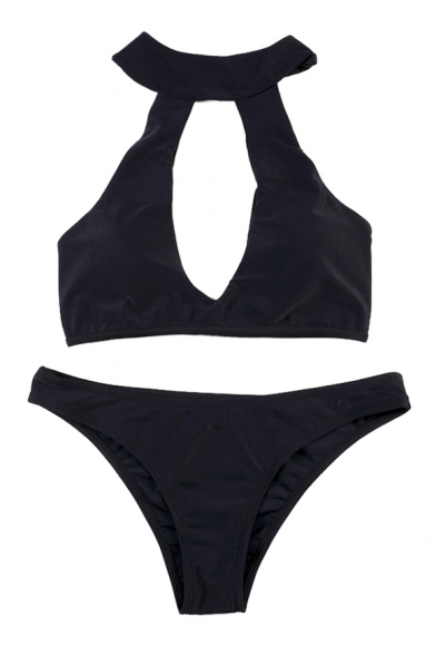 Image of Basic Sexy Plain Halter Hollow Out Front Bikini