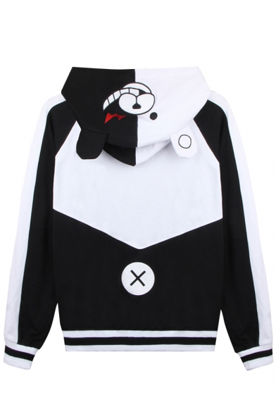 Breasted Cartoon Hooded Pockets Block Jacket Single Pattern Ears Bear Color Awq6rAX