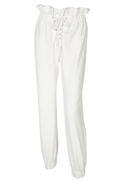 Chic Hot Sale Drawstring Waist Lace Up Front Ruffle Detail Plain Leisure Pants
