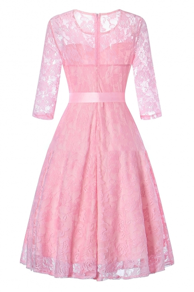 Chic Lace Panel Round Neck Bow Belted Zip Back Floral Pattern Midi Fit & Flare Dress