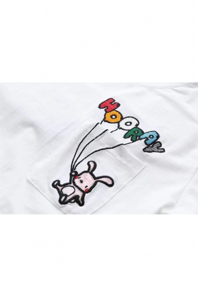 Pocket Rabbit Tee Letter Childish Chest Embroidery Neck Round Short Sleeves wBIPcqU