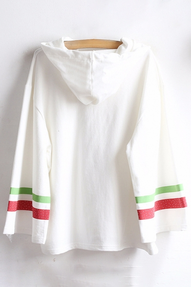 Loose Hooded Pattern Leisure Striped Sleeve Tee Embellished Contrast Long Strawberry f4ZqwI