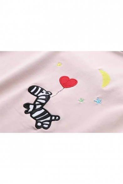 Tee Sleeve Balloon Zebra Round Short Embroidered Neck Cute Moon H80qCw