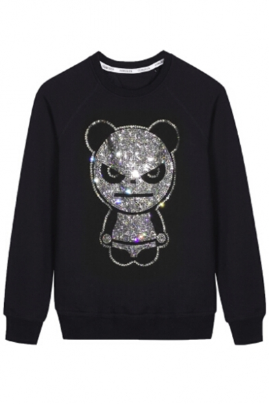 Long Pullover Sweatshirt Unisex Diamante Neck Sleeve Round Embellished qSgxR7vwCt