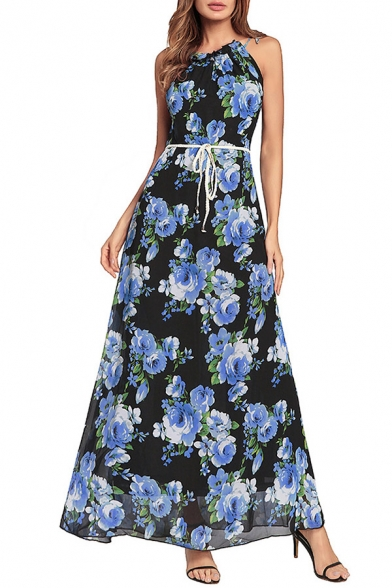 Elegant Ladylike Floral Pattern Bow Belted Sleeveless Maxi A-line Dress