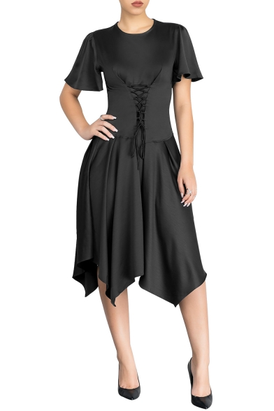 Elegant Plain Round Neck Lace Up Front Embellished Short Sleeve Asymmetric Hem Midi Dress