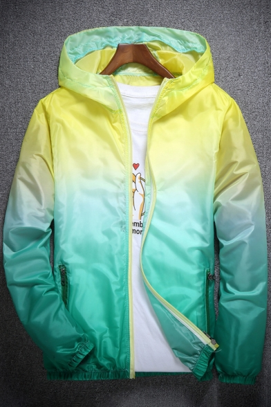 Fancy Color Block Ombre Pattern Zip Up Hooded Pocket Detail Sun Coat