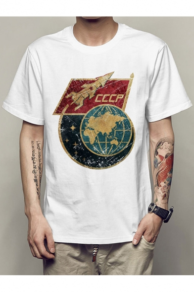 Earth Sleeves Letter Neck Short Rocket Casual Tee Round Pattern Fancy pndw0TqPT