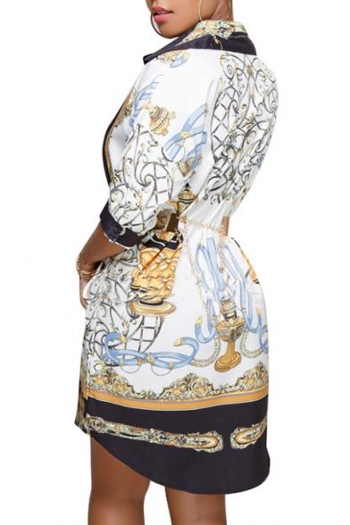 Fashion Color Block Printed Lapel Collar Half Sleeve Buttons Down Midi Shirt Dress