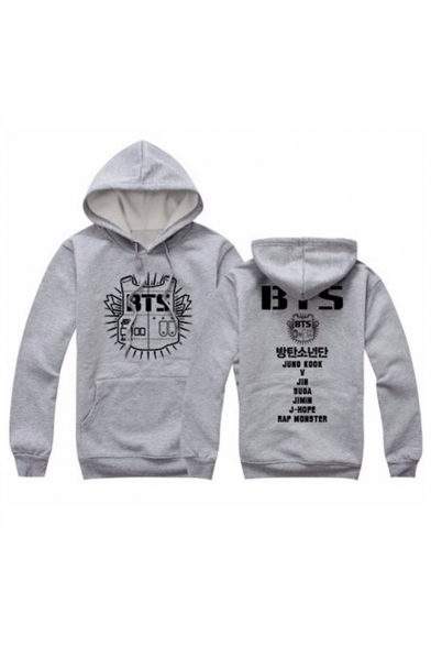 with Graphic Print Pocket Fashionable Pullover Letter Hoodie BTS Long Sleeves 1wBnn8WREq