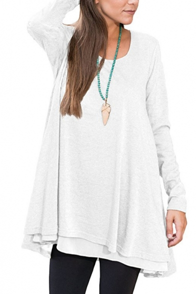 Loose Tee Neck Casual Spring Top Fashionable Sleeve Leisure Long Scoop qAwnBCfTI