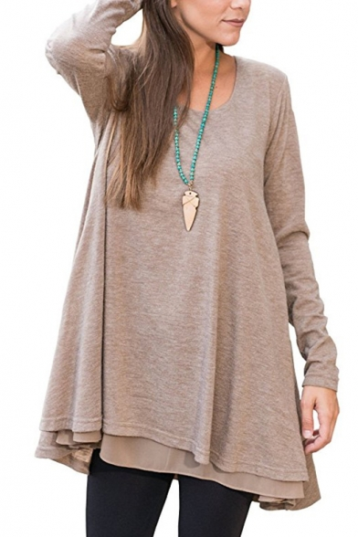 Spring Tee Leisure Loose Top Scoop Fashionable Neck Casual Long Sleeve YAxBAF0q8w