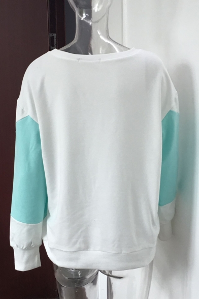 Casual Sweatshirt Long Pullover Hot Neck Round Sale Color Block Sleeves UwwT48qx