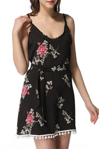 Hot Style Spaghetti Straps Bow Belted Floral Print Mini Cami Dress