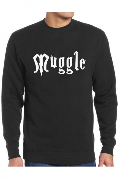 Loose Printed Letter Leisure Round Sleeve Neck Sweatshirt MUGGLE Long Pullover fUqwxxBdOn