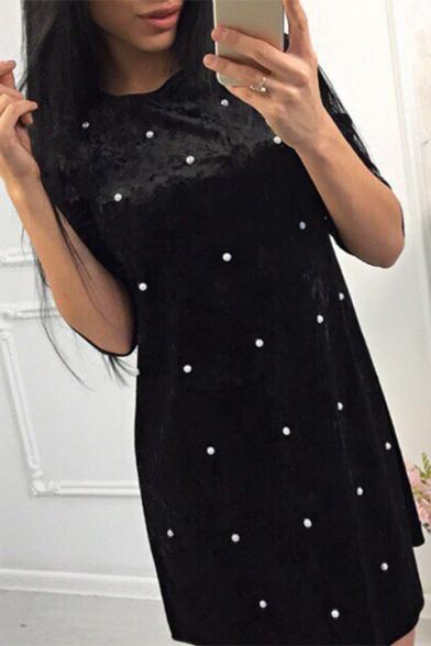 Leisure Pearl Embellished Round Neck Half Sleeve Velvet Mini T-Shirt Dress