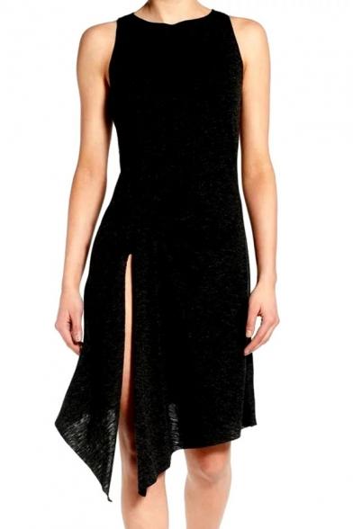 Natural Basic Plain Round Neck Sleeveless Slit Side Asymmetrical Hem Tank Dress