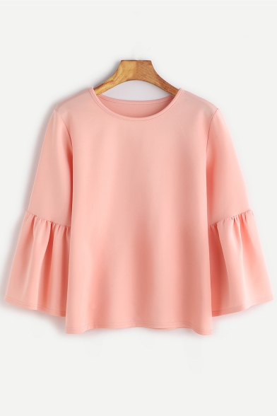 Simple Plain Neck Long Blouse Elegant Sleeves Round Ruffle Pullover RwFRrq0