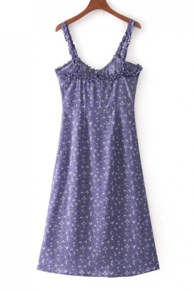 Summer Fashion Floral Pattern Ruffle Detail Button Front Midi Cami Dress