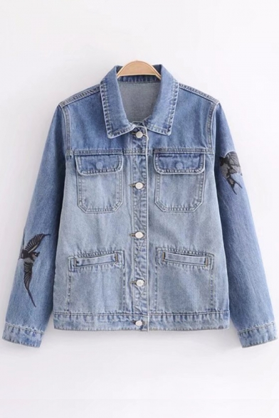 Top Sale Bird Embroidery Lapel Single Breasted Pocket Detail Denim Jacket