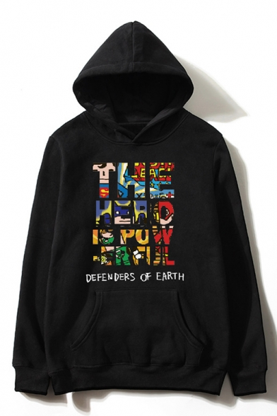 Trendy Superhero Cartoon Print Long Sleeves Pullover Hoodie with Pocket