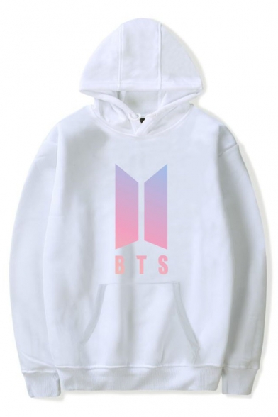 Pocket Unique BTS Sleeves Letter Graphic Men's Hoodie Print with Pullover Long gfqgvA