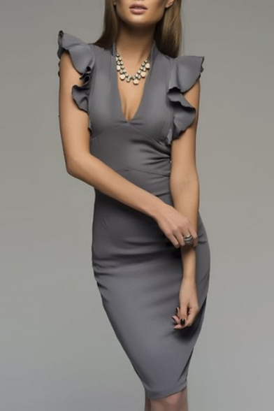Women's Stylish Plunge Neck Ruffle Cap Sleeve Midi Plain Pencil Dress