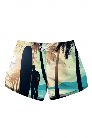 Character Beach Printed Drawstring Waist Leisure Shorts with Pockets
