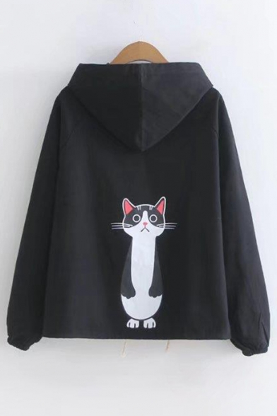 Chic Cat Cartoon Print Drawstring Waist Single Breasted Hooded Jacket
