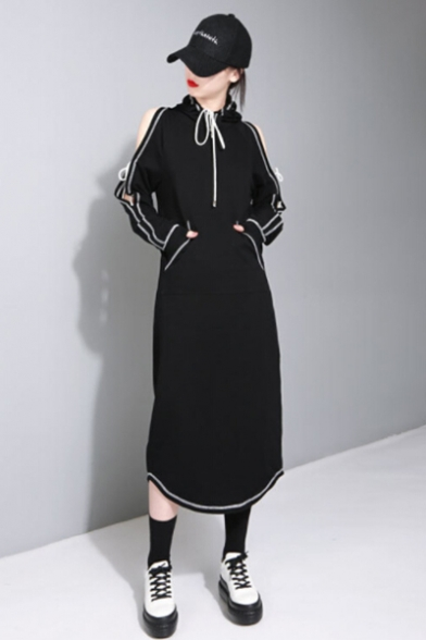 Chic Contrast Inverted Seam Cold Shoulder Long Sleeve Split Back Maxi Hoodie Dress
