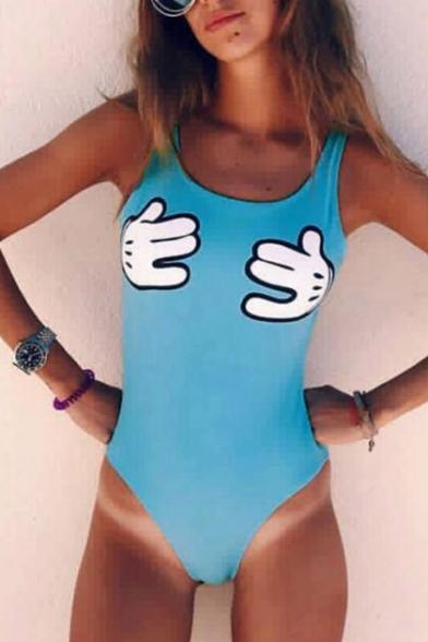 Childish Cartoon Hands Pattern Scoop Neck Open Back Summer One Piece Swimwear