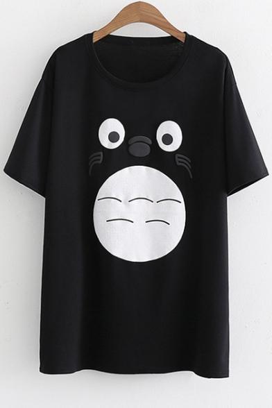 Short Sleeves shirt Round Summer Cute Print Chinchilla Neck Cartoon T HxfOwZ