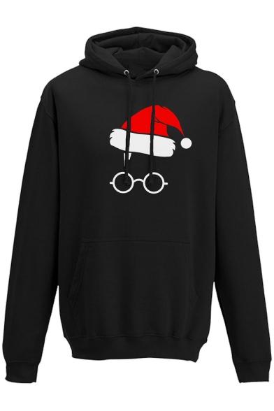 Cute Christmas Hat Eyeglasses Print Long Sleeves Pullover Hoodie, LC466081, Black;red;white;gray