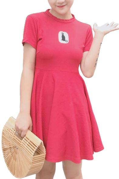 Daily Fashion Cat Pattern Hollow Back Mini Skater Dress