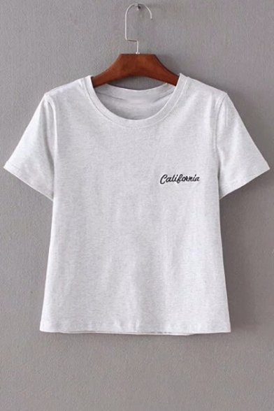 Fancy Letter Embroidery Round Neck Short Sleeves Summer Cropped T