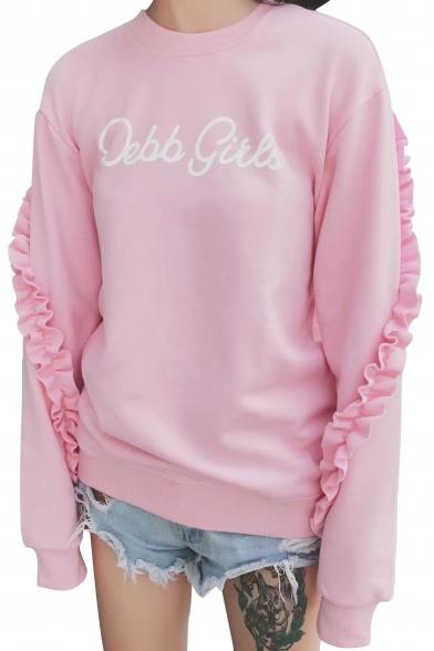 Neck Sleeves Sweatshirt Round Fancy Print Pullover Ruffle Long Detail Letter wxaaqO4F1