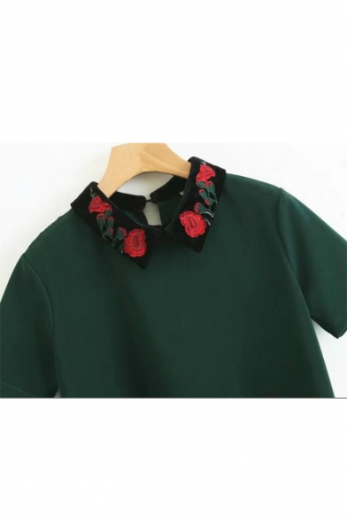Shift Short Embroidered Contrast Dress Lapel Mini Collar Sleeve Detail Floral n8BHxvdXB