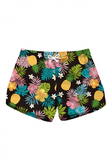 Holiday Floral Leaf Printed Drawstring Waist Shorts with Pockets