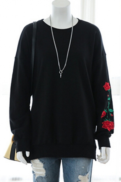 Leisure Neck Sweatshirt Rose Sleeve Slim Long Embroidered Pullover Round SxSfU
