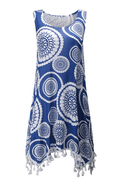 with Style National Tank Neck Hem Scoop Printed Sleeveless Asymmetric Tunic Tassel 0FwOaFq