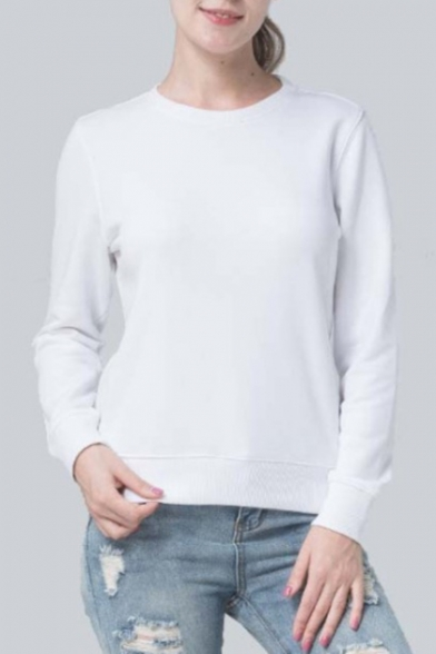 Pullover Plain Fit Round Slim Sweatshirt Basic Neck Sleeves Natural Simple Long awfzW1E8n