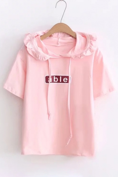 Letter New Hooded Tee Leisure Arrival Sleeve Simple Printed Short Basic tqwt8HPzr