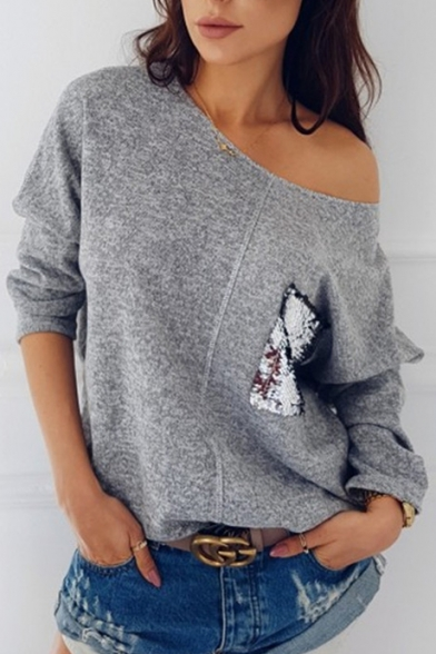 Popular Sequined Patchwork One Shoulder Long Sleeve Pullover Sweater