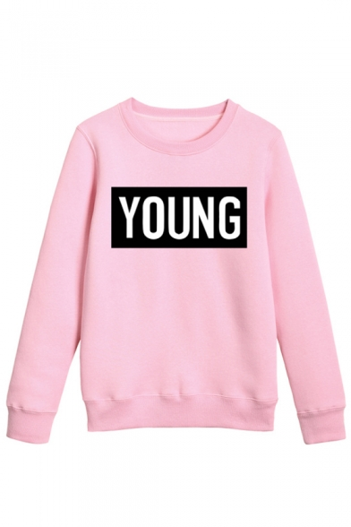 Pullover Sleeves Letter Long Print Retro Sweatshirt Neck Round qZYgxwX