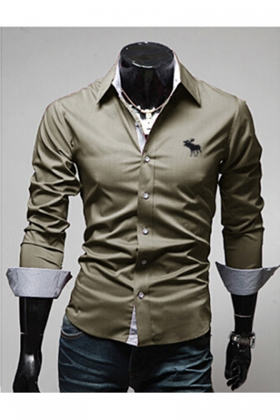 Down Buttons Embroidered Animal Shirt Long Collar Sleeve Lapel Simple HaFqU