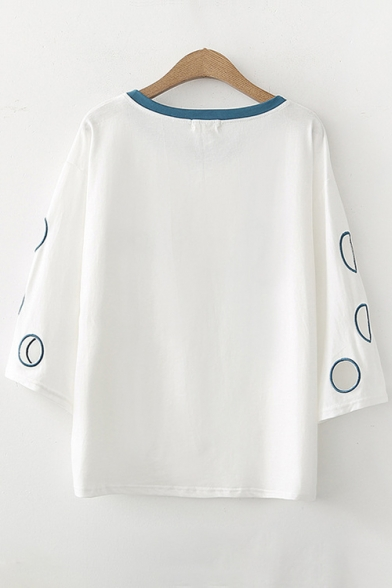 Round Embroidered Hollow Letter Short Contrast Neck Out Simple Sleeve Tee wt5Cqpx