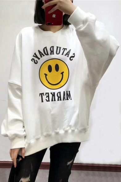 Simple Sleeves Print Round Letter Loose Long Sweatshirt Face Neck Smiley RqRwnCA1